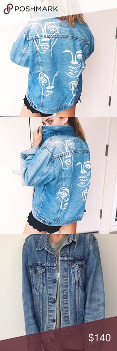 Hand-painted Denim Jacket Hand-painted abstract faces painted onto a vintage Levi denim jacket. Check out @marsmissiondesigns on Instagram for more! Levi's Jackets & Coats Jean Jackets