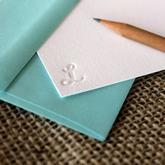 "custom letterpress monogram notecards set of by shortgrassdesigns, $15.00;  Print ""S"" and either lavender or blue envelopes."