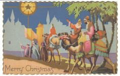 Wise Men on Camels Vintage Christmas Postcard by BirdhouseBooks on Etsy