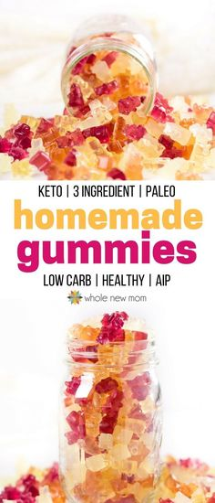 Homemade Gummies - Sugar free gummies your whole family will love! #sugarfree #gummies #candy #wholenewmom #nutrition