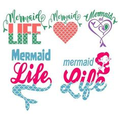 Mermaid at heart Vinyl Crafts, Vinyl Projects, Craft Projects, Disney Fantasy, Silhouette Cameo Projects, Silhouette Design, Silhouette Files, Cricut Vinyl, Cricut Fonts