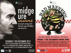 Epic Studios Norwich – This is the time to party! 13th and 14th Dec 2014 Two shows, two performers: Buster Bloodvessel and the Bad Manners, Midge Ure