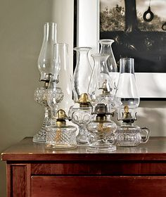 A collection of glass oil lamps.  With all the power outages we have, these are pretty and practical.