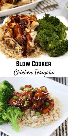 Crock Pot Teriyaki Chicken Recipe - with video! Boneless skinless chicken breasts and homemade teriyaki sauce served over rice or quinoa make this crock pot teriyaki chicken a perfect weeknight meal. Salsa Teriyaki Casera, Chicken Teriyaki Rezept, Sauce Teriyaki, Teriyaki Chicken Slow Cooker, Teriyaki Chicken And Rice, Hoisin Chicken, Chicken Over Rice, Tso Chicken, Chicken Sauce