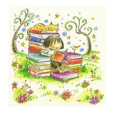 Illustration by Peter H. Reading Art, Girl Reading, Reading Quotes, I Love Reading, Book Quotes, Reading Books, Reading Fluency, I Love Books, Books To Read