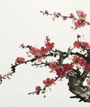 El artista chino estadounidenses brushpainting Virginia Lloyd Davies pintura del flor del ciruelo de la técnica Sumi