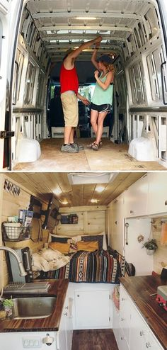 There are a lot of people around the world dreaming about tiny house and go for their dream! You will find 30 awesome examples of perfect School Bus and van conversions into tiny House - for couples, for family of for one person and so one. Bus House, Tiny House, Van Life, Vans, Kombi Home, Bus Living, Camper Van Conversion Diy, Van Conversion Interior, Van Interior