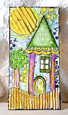 mixed media collage with recycled materials: The fairies hause / la casa...