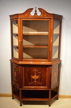 A Beautiful Mahogany Inlaid Edwardian Period Display Cabinet By Edwards