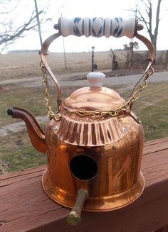 Handcrafted Birdhouse Vintage Copper Tea Kettle Shabby Yard Art Unique | eBay