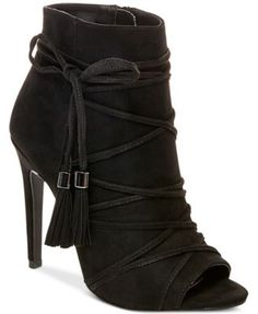 A wrapping, ankle tie design with tassels ups the wow factor on these Korset booties from Madden Girl for a chic look with jeans or a flirty skirt.   Manmade upper; manmade sole   Imported   Round pee