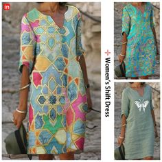 Sewing Clothes, Diy Clothes, Clothes For Women, Half Sleeve Dresses, Knee Length Dresses, Ropa On Line, Tunic Sewing Patterns, African Attire, Fashion Dresses