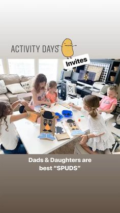 🥔Spud Activity - @amywilsonprintables Activity Day Girls, Activity Days, Dad Daughter, Dads, Invitations, Activities, Daddys Girl, Fathers, Save The Date Invitations