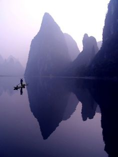 Li River, China. I've been down this river! Beautiful, imagine those peaks covered with bright green!