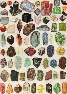 Amber Ibarreche Gemz (I find it a bit hard to believe she actually draw these stones... possible, sure, but she seems to be a collage artist, so this could be images cut from an old book of minerals, or a school board or something like that. Old fact book illustration. But, sure, it's possible she made it.)