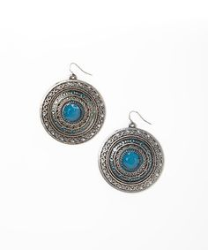 Look at this #zulilyfind! Silver & Blue Dangle Disc Drop Earrings #zulilyfinds