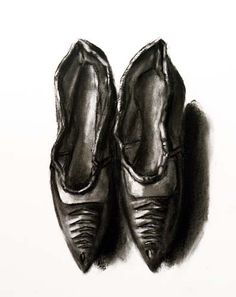 Pair of Shoes in charcoal by Lisa Milroy