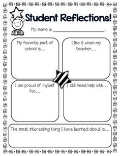 Student Reflections Page: Great for Report Card time! {FREE}