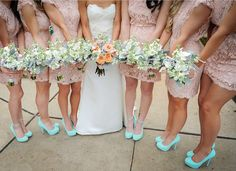 Adorable Peach Lacey Bridesmaid Dresses Fun Matched with Pastel Blue Killer Heels