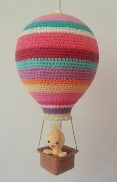 Crocheted Amigurumi air balloon lamp for kids room. Created and made by elianna