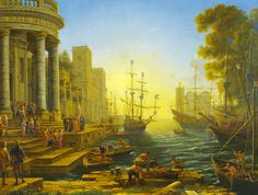 [Baroque]] Claude Lorrain, «Seaport with the Embarkation of Saint Ursula»