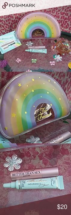♡Too Faced♡ Lifes a festival collection makeup bag with the travel size Better than sex mascara and 24 hour anti crease eyeshadow primer. Free goodies with ANY purchase HAPPY POSHING Too Faced Makeup Brushes & Tools