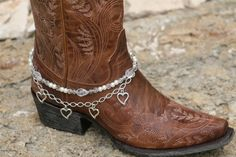Boot Candy White Pearls with Hearts and Chain   608173  Boot Jewelry-Boot Bling-Boot Bracelet-Boot Accessories