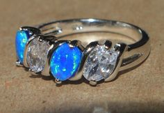 blue fire opal white topaz ring silver jewelry Sz 8.5 engagement wedding band Z5 #Cocktail