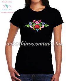 058d324038 Women's t-shirt - short sleeve - folk embroidery - matyo motif - handmade -  black. Hímzésminták, Kalocsai