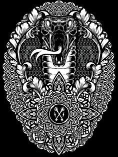 Exploration Study of Mandalas vs my core work. Graphic Design Illustration, Illustration Art, Neo Traditional Art, Tattoo Flash Art, Pencil And Paper, Snake Tattoo, Skull And Bones, Coloring Book Pages, Mandala Design