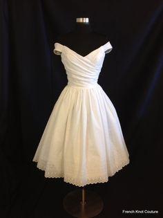 Short Wedding Dress, Off Shoulder, Cotton Eyelet, FLIR-TINI, Tea Length by FrenchKnotCouture on Etsy https://www.etsy.com/listing/163202910/short-wedding-dress-off-shoulder-cotton