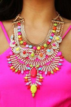collar de colores de neón