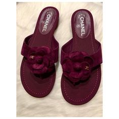 f3ee1b4c81fc Chanel Purple Camellia Cc Suede Calfskin Gross Grain Thong Slip On Sandals  Size EU 39 (