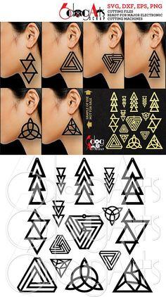 16 Wood / Acrylic / Metal Triangular Earring / Pendant Templates Vector Digital SVG DXF Jewelry Cut Files Download Laser Die Cutting JB-1108