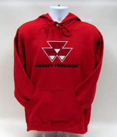 Men`s Massey Ferguson Applique Logo Red Hooded Sweatshirt