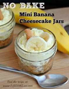 No Bake Banana Cheesecake Jars - recipe at www.lifewithlevi.com. via http://www.lifewithlevi.com/no-bake-mini-banana-cheesecake-jars/