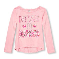 18a47b389dc0 Girls Long Sleeve Embellished Graphic Keyhole-Back Top Big Fashion, Shirts  For Girls,