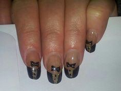 acrylic nails with hand painted tux design for a Ball.