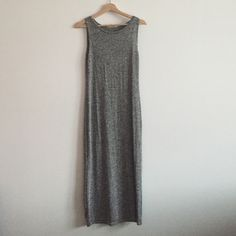 Grey sweater dress Long grey sweater tank dress. Hits about mid calf. Body hugging. Size large, but runs small - more of a medium. Never worn but no tags. Olive & Oak Dresses