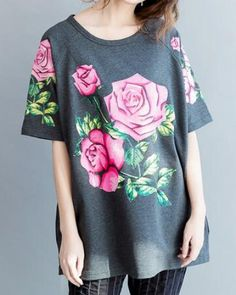 468041a4666 PLUS SIZE Women Summer loose tops series fashion short sleeve Black t-shirt  Pink rose print top simplee elegant style