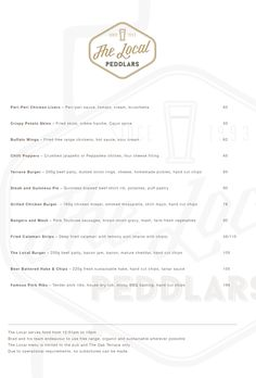 The Local's menu for winter Dig in. Crispy Potato Skins, Peri Peri Chicken, Beef Patty, Chicken Livers, Buffalo Wings, Creme Fraiche, Menu, Winter, Menu Board Design