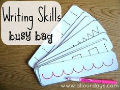 Writing Skills Busy Bag of 5 Dry Erase Busy Bag Ideas) 31 Days of Busy Bags & Quiet Time Activities Toddler Learning, Preschool Learning, Early Learning, Fun Learning, Preschool Activities, Teaching, Quiet Time Activities, Writing Activities, Writing Skills