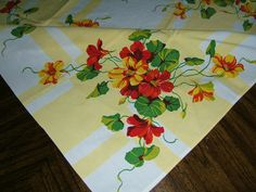 Vintage Cotton 1950's Tablecloth Hibiscus 48x54 | eBay *This is a Wilendur piece*