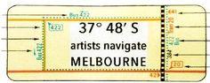 """37° 48` S: artists navigate MELBOURNE é um projeto de artes visuais arrojado e provocativo. Explora a diversidade cultural da Austrália contemporânea através da vida urbana de Melbourne, Victoria, Australia. Técnicas tradicionais de gravura e """"street-art"""" são igualmente utilizadas pelos 12 artistas convidados a relacionar sua arte com o patrimônio cultural, natural e ambiental da sua cidade."""