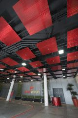 Planet Hollywood Towers, Electric Red  #MozDesignerMetals #InvitingImagination #Ceilings #PlanetHollywood