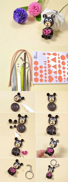 Making Easy Cute Quilling Paper Bear Crafts for Kids