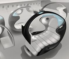 Et chaque siège devrait être équipé d'un parachute! This design of an innovative aircraft seat stole the show at the Aircraft Interiors Expo in Hamburg this year. Futuristic Furniture, Cool Furniture, Furniture Design, Sleeping Pods, Pod Chair, Aircraft Interiors, Computer Workstation, Car Interior Design, Gaming Room Setup