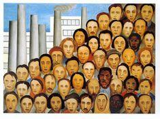 Tarsila do Amaral - Operários, 1933 __ [Naïve Art (Primitivism), Social Realism] Women Artist, Brazilian People, Modern Art, Contemporary Art, Social Realism, Plastic Art, Art Database, Naive Art, Graphic