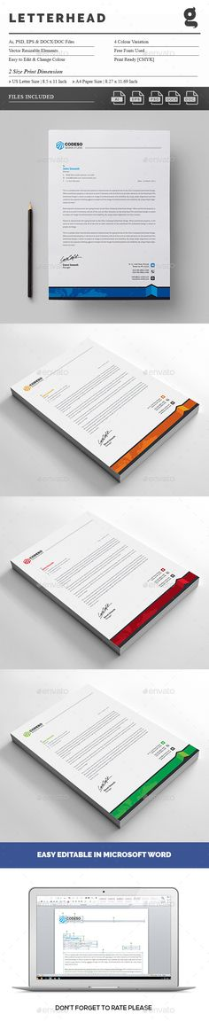Corporate Letterhead Vol-05 Letterhead template, Template and - free business letterhead templates download