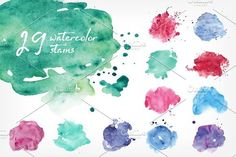 vector watercolor stains bundle by Good_Studio on @creativemarket